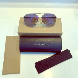 Authentic Burberry Check-Lens Aviator Sunglasses